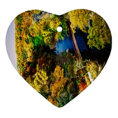 Bridge River Forest Trees Autumn Heart Ornament (Two Sides)