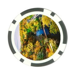 Bridge River Forest Trees Autumn Poker Chip Card Guard (10 pack)