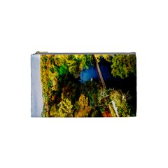 Bridge River Forest Trees Autumn Cosmetic Bag (Small)