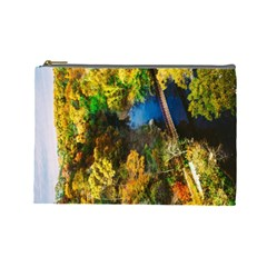Bridge River Forest Trees Autumn Cosmetic Bag (Large)