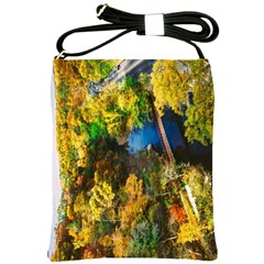 Bridge River Forest Trees Autumn Shoulder Sling Bags