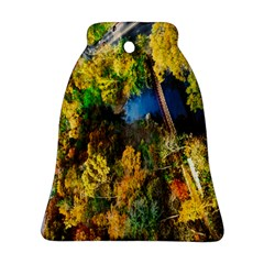 Bridge River Forest Trees Autumn Bell Ornament (Two Sides)