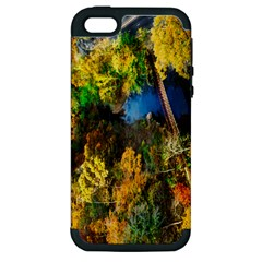 Bridge River Forest Trees Autumn Apple iPhone 5 Hardshell Case (PC+Silicone)