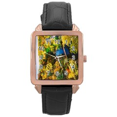 Bridge River Forest Trees Autumn Rose Gold Leather Watch