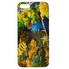Bridge River Forest Trees Autumn Apple Iphone 5 Hardshell Case With Stand