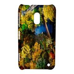 Bridge River Forest Trees Autumn Nokia Lumia 620