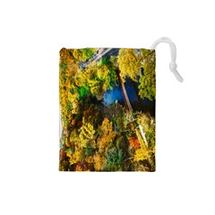 Bridge River Forest Trees Autumn Drawstring Pouches (small)