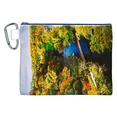 Bridge River Forest Trees Autumn Canvas Cosmetic Bag (XXL)
