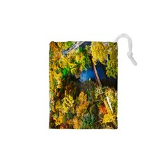 Bridge River Forest Trees Autumn Drawstring Pouches (XS)