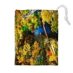 Bridge River Forest Trees Autumn Drawstring Pouches (extra Large)