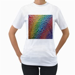 Bubbles Rainbow Colourful Colors Women s T-Shirt (White) (Two Sided)