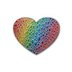 Bubbles Rainbow Colourful Colors Heart Coaster (4 pack)