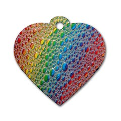 Bubbles Rainbow Colourful Colors Dog Tag Heart (Two Sides)