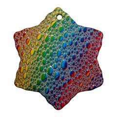 Bubbles Rainbow Colourful Colors Snowflake Ornament (Two Sides)