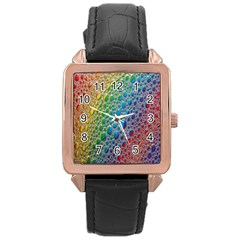 Bubbles Rainbow Colourful Colors Rose Gold Leather Watch