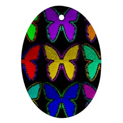 Butterflies Pattern Ornament (Oval)