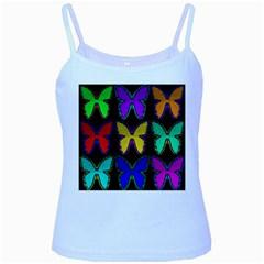 Butterflies Pattern Baby Blue Spaghetti Tank