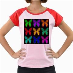 Butterflies Pattern Women s Cap Sleeve T-Shirt