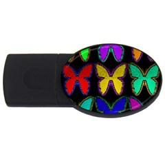 Butterflies Pattern USB Flash Drive Oval (4 GB)
