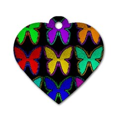 Butterflies Pattern Dog Tag Heart (two Sides)