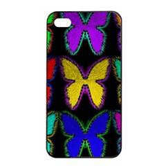 Butterflies Pattern Apple Iphone 4/4s Seamless Case (black)