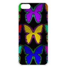 Butterflies Pattern Apple iPhone 5 Seamless Case (White)