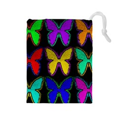 Butterflies Pattern Drawstring Pouches (large)