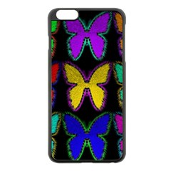 Butterflies Pattern Apple Iphone 6 Plus/6s Plus Black Enamel Case