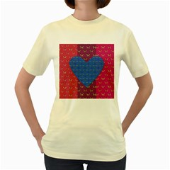 Butterfly Heart Pattern Women s Yellow T-Shirt