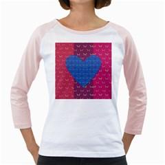 Butterfly Heart Pattern Girly Raglans