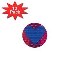 Butterfly Heart Pattern 1  Mini Buttons (10 pack)