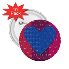 Butterfly Heart Pattern 2.25  Buttons (10 pack)