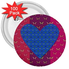 Butterfly Heart Pattern 3  Buttons (100 pack)