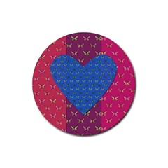 Butterfly Heart Pattern Rubber Coaster (Round)