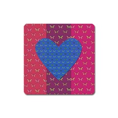 Butterfly Heart Pattern Square Magnet