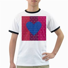 Butterfly Heart Pattern Ringer T-Shirts