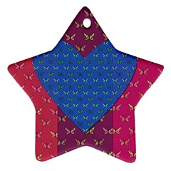 Butterfly Heart Pattern Star Ornament (Two Sides)