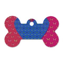 Butterfly Heart Pattern Dog Tag Bone (Two Sides)