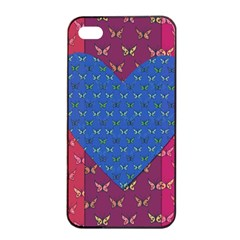 Butterfly Heart Pattern Apple iPhone 4/4s Seamless Case (Black)