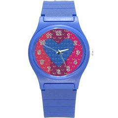 Butterfly Heart Pattern Round Plastic Sport Watch (S)