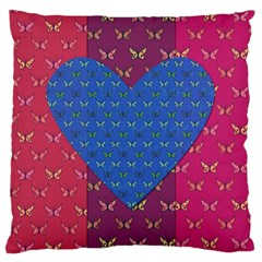 Butterfly Heart Pattern Large Cushion Case (two Sides)