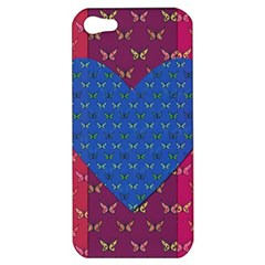 Butterfly Heart Pattern Apple Iphone 5 Hardshell Case