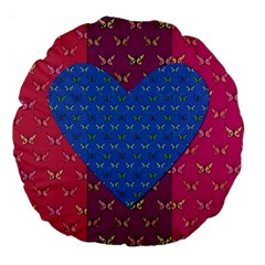 Butterfly Heart Pattern Large 18  Premium Round Cushions