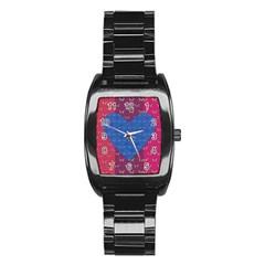 Butterfly Heart Pattern Stainless Steel Barrel Watch