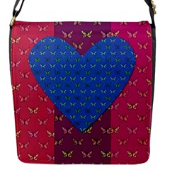 Butterfly Heart Pattern Flap Messenger Bag (s)