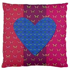 Butterfly Heart Pattern Large Flano Cushion Case (Two Sides)