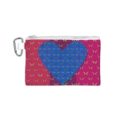 Butterfly Heart Pattern Canvas Cosmetic Bag (S)