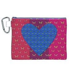 Butterfly Heart Pattern Canvas Cosmetic Bag (XL)