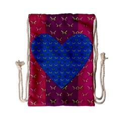 Butterfly Heart Pattern Drawstring Bag (small)