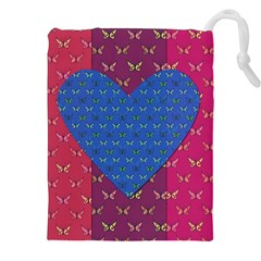 Butterfly Heart Pattern Drawstring Pouches (XXL)